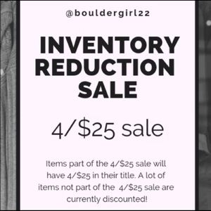 4/$25 inventory sale